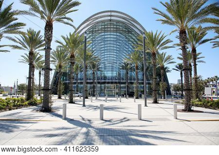 Anaheim California, United States of America - March 3. 3021: The Anaheim Regional Transportation Intermodal Center (ARTIC) is an intermodal transit center in Anaheim, California.  Editorial Use Only.