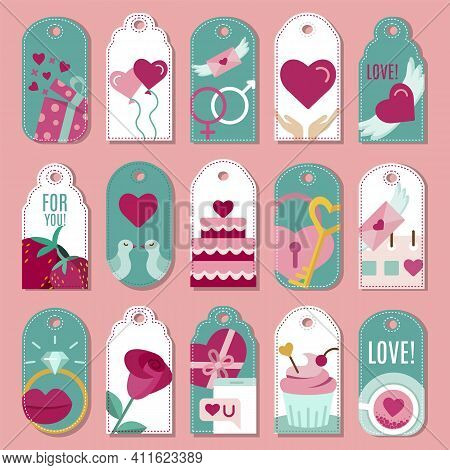 Set Of Romantic Sale Tags For Shopping. Happy Valentines Day, Wedding, Love, Anniversary, Romantic D