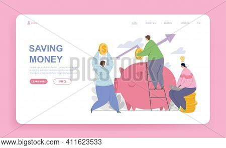 Male And Female Characters Are Saving Money In Piggy Bank. Group Of People Putting Coins Into Piggy