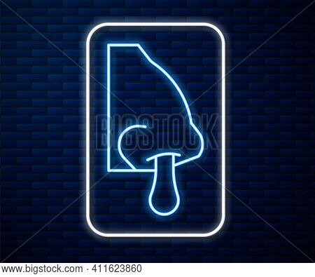 Glowing Neon Line Runny Nose Icon Isolated On Brick Wall Background. Rhinitis Symptoms, Treatment. N