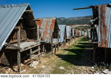 Traditional wooden old granaries in Bezirgan highlands on Lycian Way trail, Turkey