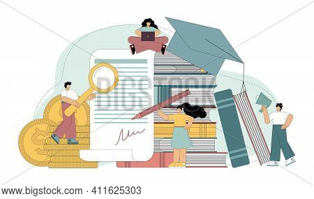 Investment In Education. Education Loan. Scholarship. Education Payment Concept. Vector Isolated Ill