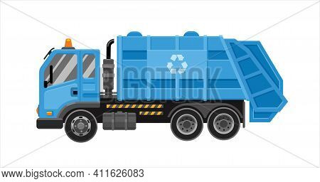 Garbage Truck With Frontal Loader. Collection And Transportation Of Solid Household And Commercial W