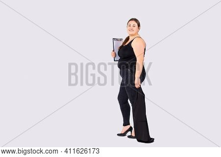 Full Length Large Body Size Photo Of Cute Business Lady, Holding Clipboard Documents Papers. Ready F