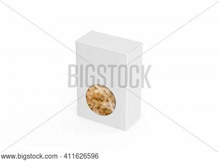 White Paper Window Box Mock Up With Spiral Pasta, Transparent Plastic Macaroni Box With Cellophane W
