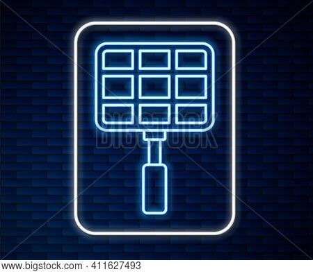 Glowing Neon Line Barbecue Steel Grid Icon Isolated On Brick Wall Background. Top View Of Bbq Grill.