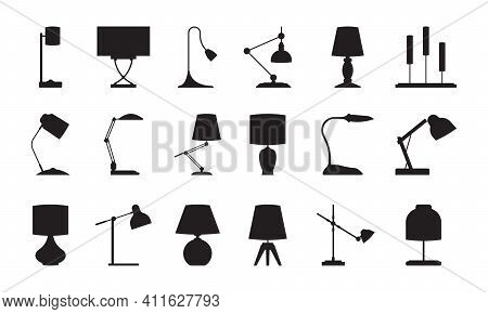 Lamp Silhouettes. Lighting Symbols Collection Accessories For Modern Interiors Room Standing Lamps G