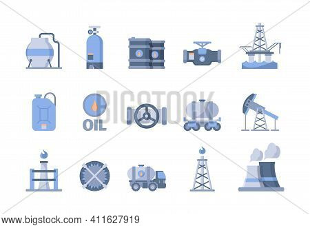 Oil And Gas Production Icons. Nature Exploration Blue Gas Oil Extraction Refinery Pipe Factory And T