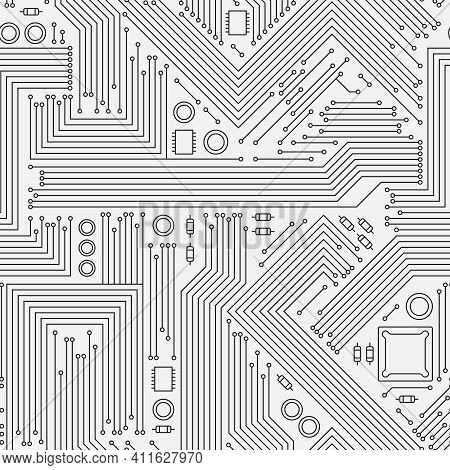 Electronic Boards Texture. Computer Circuit Board Cpu Chip Surface Energy Network System Stylized Sy