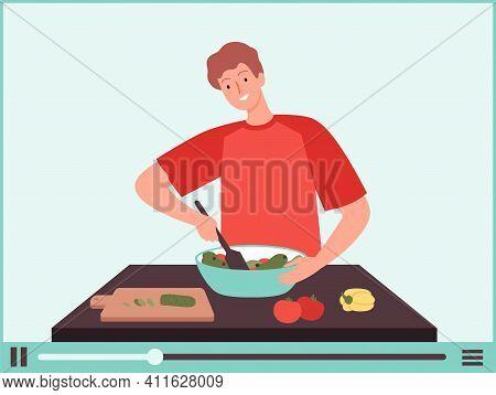 Vegan Man. Vegetarian Food Blogger, Guy Cook Vegetable Salad. Online Culinary School Tutorials, Food