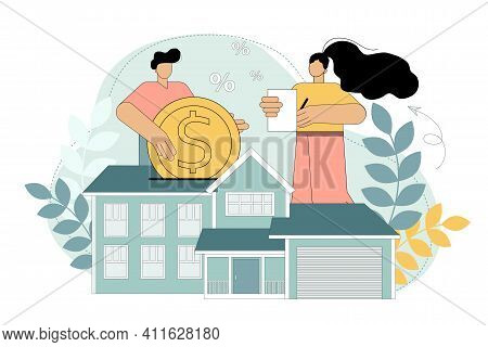 Home Loan, Rent And Mortgage Concept. A Man And A Woman Buy A House With A Mortgage And Pay A Loan T