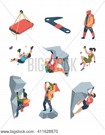 Sport Climbers. Active Lifestyle People Mountain Rock Team Sportsmen Healthy Persons Garish Vector C