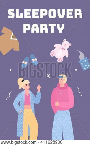 Sleepover Party Card Or Poster With Young Man And Woman In Cozy Clothes At Night Party, Vector Carto