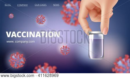 Vaccination Banner. Innovation Vaccine, Medications And Viruses. Time To Vaccinate, Safety And Healt