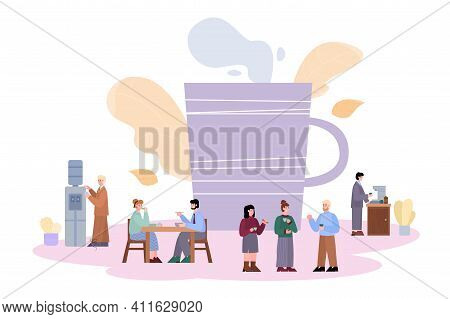 Coffee Break In Office Banner Design With Cartoon People Drinking Beverages And Chatting During Busi