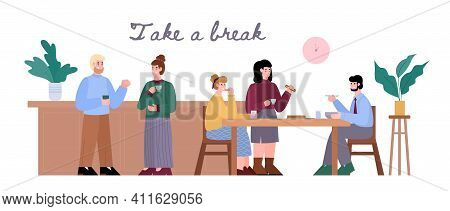 Banner Or Poster With Office Colleagues On Work Break, Cartoon Vector Illustration Isolated On White