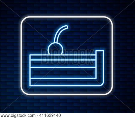 Glowing Neon Line Cherry Cheesecake Slice With Fruit Topping Icon Isolated On Brick Wall Background.