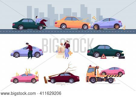 Insurance Car. Crash Auto Accident Drivers Save Life Vehicle Problems Robbery Damaged Fire Garish Ve