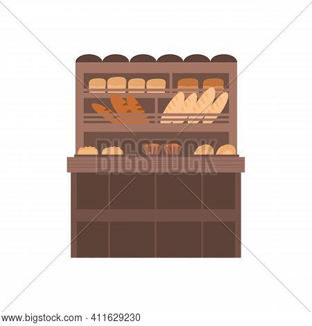 Street Market Stall Or Booth With Bakery Products, Cartoon Vector Illustration Isolated On White Bac