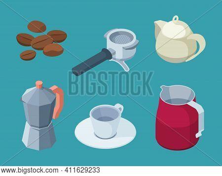 Coffee Items. Barista Professional Equipment Coffee Machine Hot Drinks Cups Espresso Black Natural B