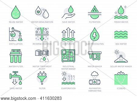 Rainwater Harvesting Line Icons. Vector Illustration Include Icon - Osmotic Filter, Electrodialysis,