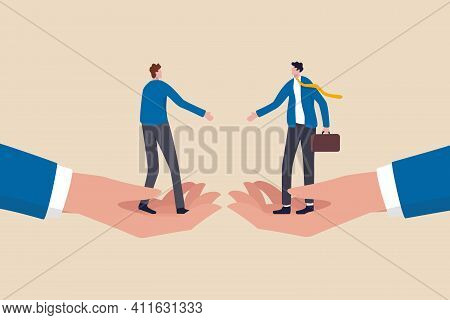 Business Partnership, Negotiation To Make Agreement Or Business Deal Concept, Confident Businessmen