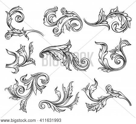Baroque Scroll As Element Of Ornament And Graphic Design With Spirals And Rolling Circle Motif Vecto