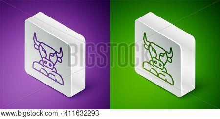 Isometric Line Minotaur Icon Isolated On Purple And Green Background. Mythical Greek Powerful Creatu
