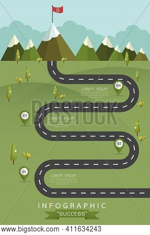 Road With Markers, Vector Infographics Template. Winding Road In Green Field And Mountains. Rural St