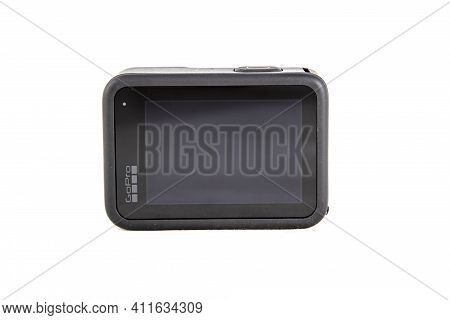 Moscow, Russia - Novemner 11, 2020: New Flagship Action Camera Gopro Hero 9 Black. Back View Screen