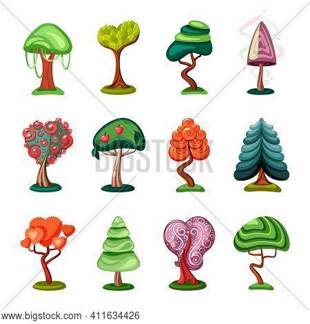 Fabulous Geometric Bonsai Set. Fantasy Mushroom With Tropical Sequoia Covered With Lianas Cone Green