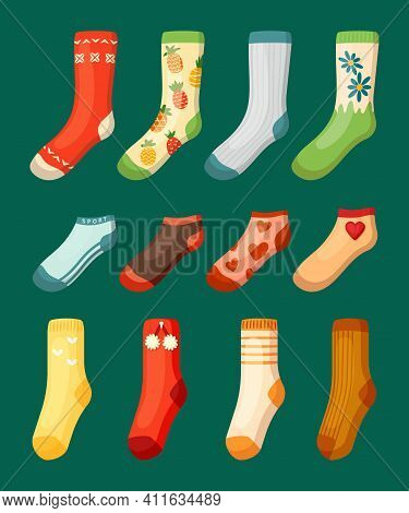 Colored Socks Set. Bright Woolen With Red Pineapple Hearts Drawing Warm White Stripes And Stylish Or