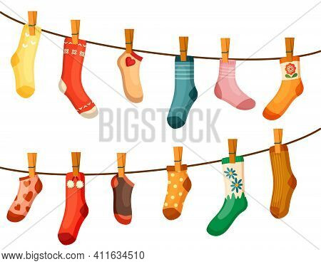 Colored Socks Drying Rope Illustration. Bright Red Textiles Green Drawing Hang Neatly Fastened With