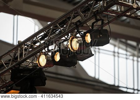 Stage Lighting. Projectors In The Circus. White Light Rays From Stage Spotlights On Stage