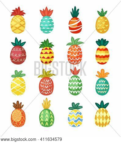 Colorful Pineapples Ornaments Set. Ethnic Festive Tracery Wavy Red Tropical Fruit With Barbed Print