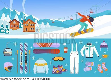 Equipment Skiers And Snowboarders Set. Warm White Jumpsuit With Wool Socks Descent Boards And Profes