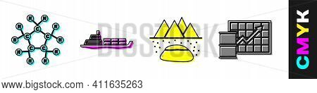 Set Molecule Oil, Oil Tanker Ship, Oilfield And Oil Price Increase Icon. Vector