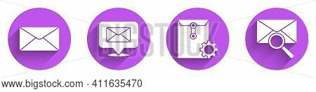 Set Envelope, Speech Bubble With Envelope, Envelope Setting And Envelope With Magnifying Glass Icon