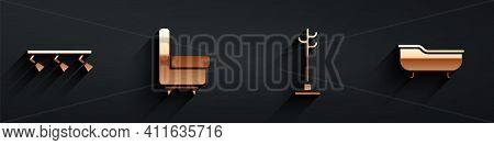 Set Led Track Lights And Lamps, Armchair, Coat Stand And Bathtub Icon With Long Shadow. Vector