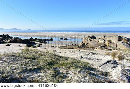 Carnota Beach Or Playa De Carnota, The Largest Galician Beach At Famous Rias Baixas Region. Coruña P