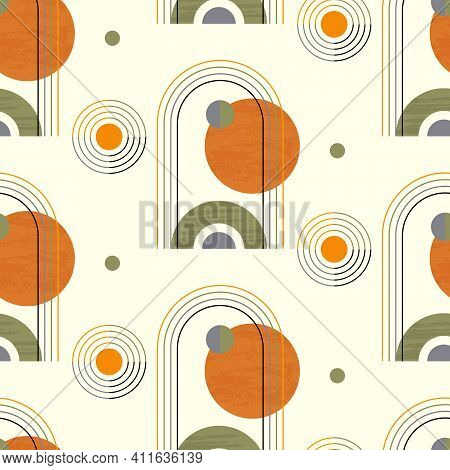Abstract Geometric Seamless Pattern With Circles And Semicircles In Boho Style In Vector