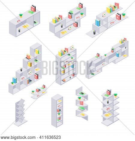 Books On Shelf Isometric Set. Collection Of Various Shelves With Literature And Staff Isolated On Wh