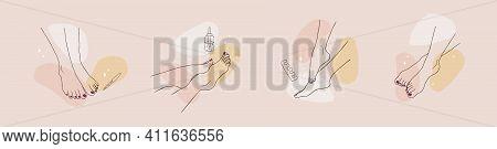 Pedicure Spa Female Feet. Nail Polish And Nail File. Linear Vector Illustration Of Elegant Woman Leg