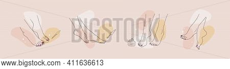 Pedicured Female Feet. Foot Care Concept. Linear Vector Illustration Of Elegant Woman Legs In A Tren