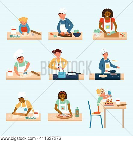 Vector Set Of Different Age And Ethnicity Kids In Aprons And Chef Hats Cooking. Making Pizza, Salad,