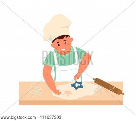 Vector Illustration Of Cute Little Boy In Apron And Chef Hat Making Star Shaped Cookies. Isolated On