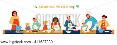 Cooking With Children Horizontal Banner. Different Age And Race Children In Aprons And Chef Hat Cook