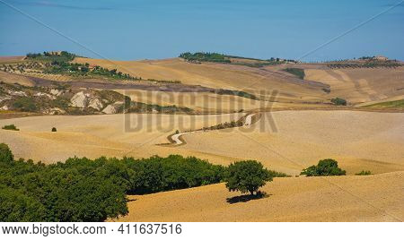 San Quirico D\'orcia, Italy - September 3rd 2020. Late Summer Landscape In Val D\'orcia Near San Qui