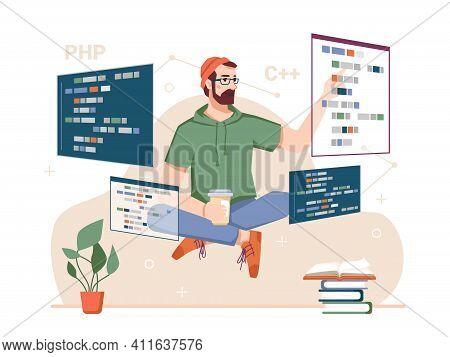 Skillful Coder With Monitors And Gadgets, Male Personage Developing Websites And Coding. Programming
