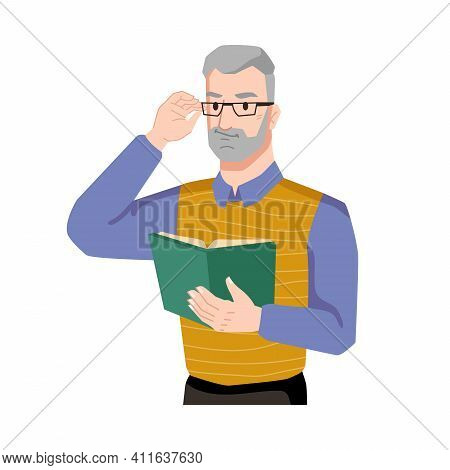 Man Enjoys Reading Book Isolated Flat Cartoon Character Feeling With Novel Or Poetry. Bearded Adult